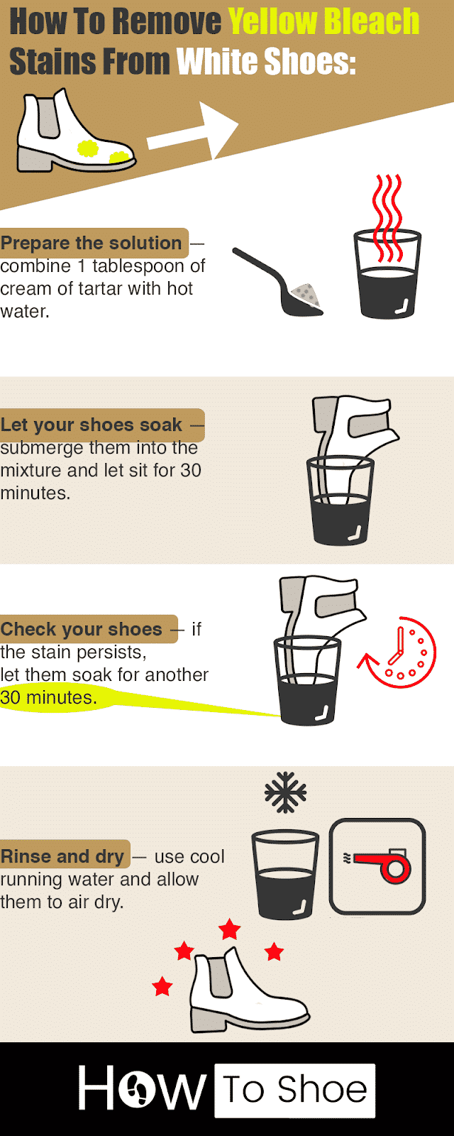 remove yellow bleach stains from white shoes