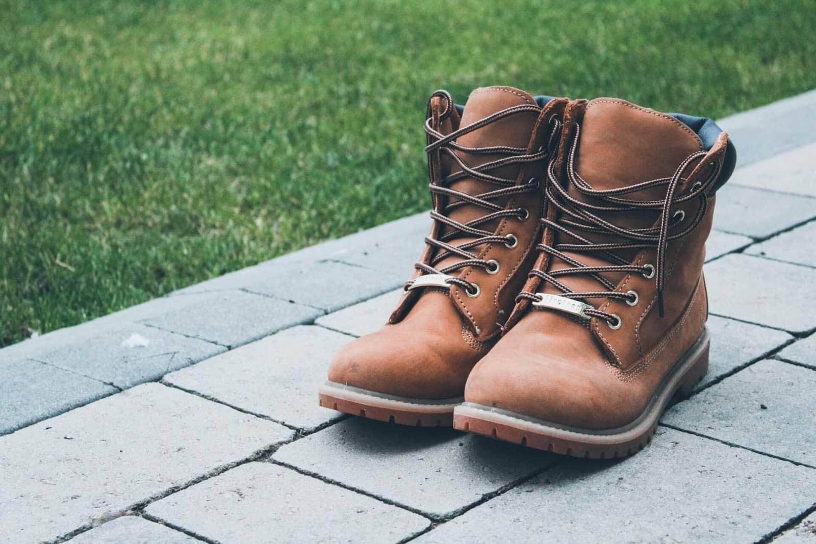 timberland boots on a pavement