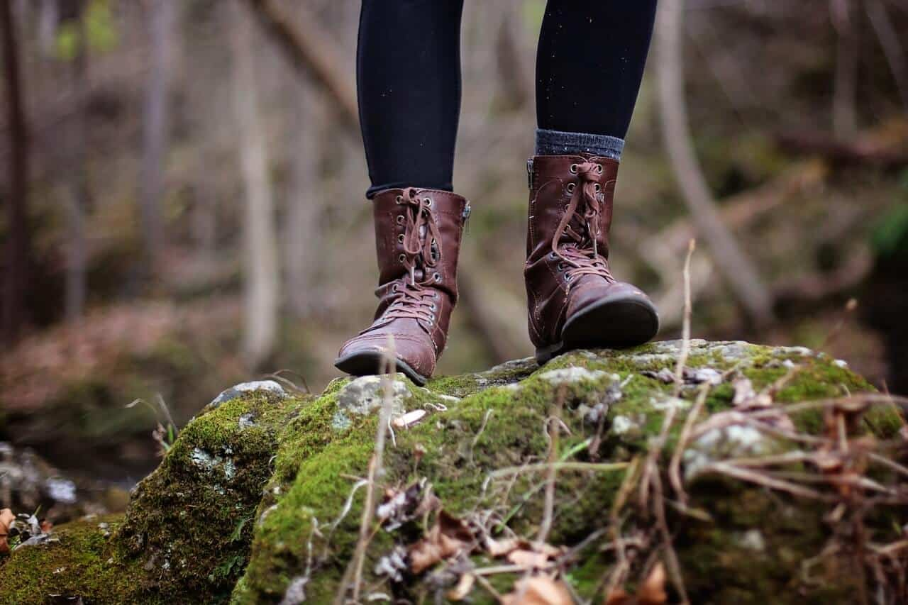 Brown boots in the woods