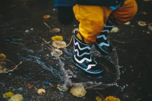 Closeup of kids' rubber boots in mud
