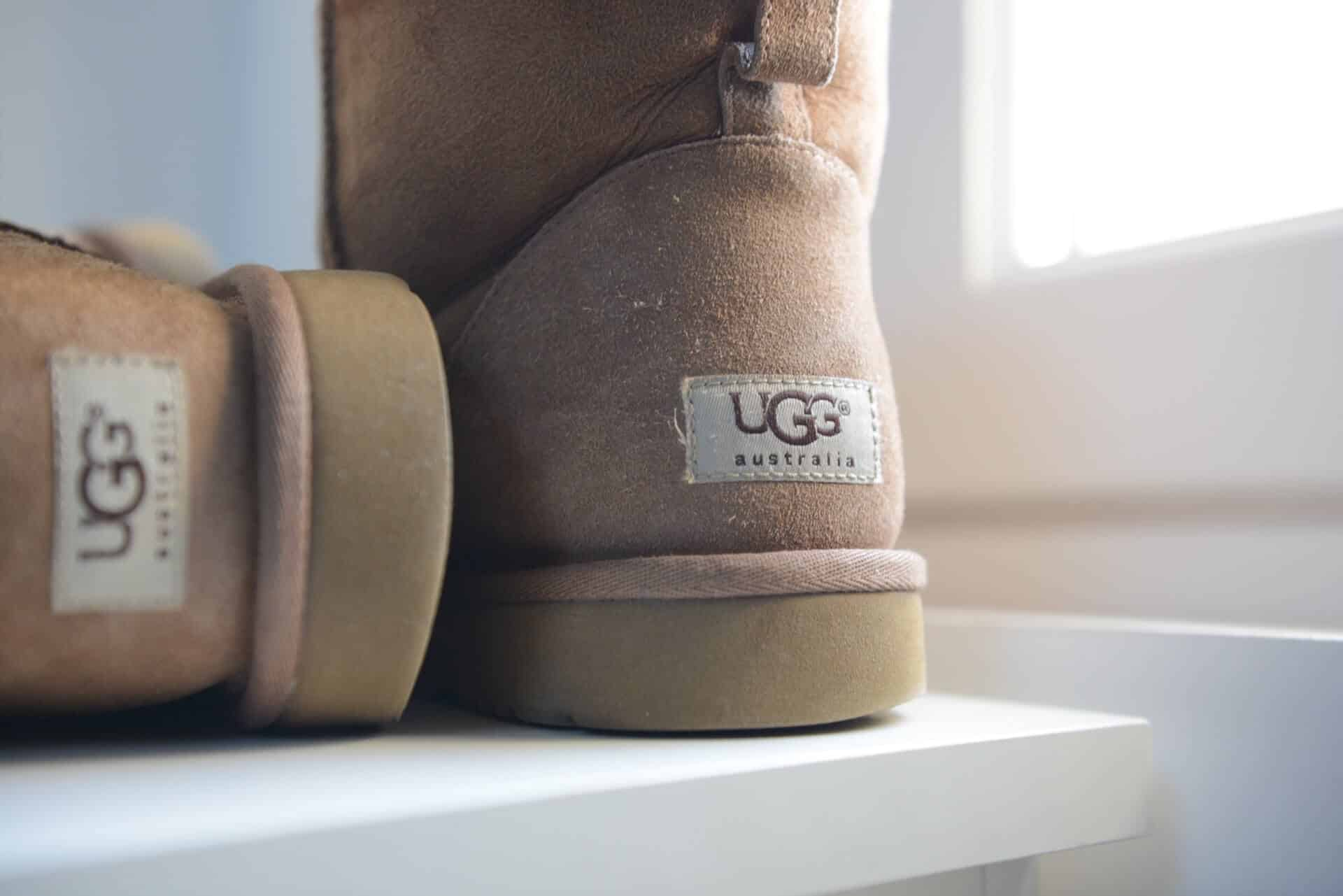 zoom-in of the uggs australia tag on a pair of boots